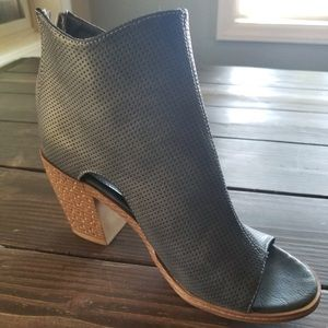 Blue/grey peep toe booties